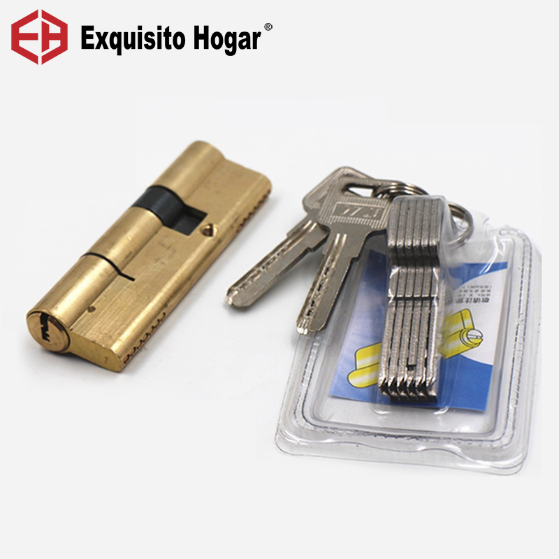 Door Cylinder Biased Lock 65-115mm Cylinder AB Key Anti-Theft Entrance Brass Door Lock Lengthened Core Extended Keys
