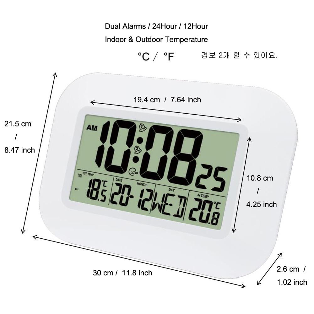 Image 4 - Big LCD Digital Wall Clock Thermometer Temperature Radio  Controlled Alarm Clock RCC Table Desk Calendar for Home School  OfficeWall Clocks