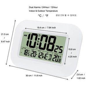 Image 4 - Big LCD Digital Wall Clock Thermometer Temperature Radio Controlled Alarm Clock RCC Table Desk Calendar for Home School Office