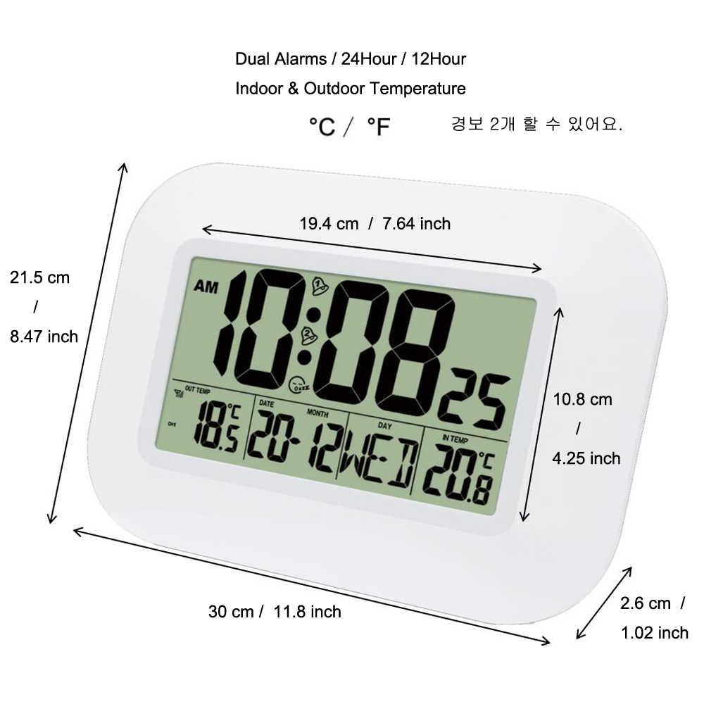 شاشة LCD كبيرة ساعة حائط رقمية ميزان الحرارة داخلي ث/في الهواء الطلق درجة الحرارة جهاز إرسال لاسلكي التحكم ساعة تنبيه RCC الجدول الزمني