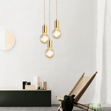 Nordic LED Pendant Lights Study Living Room Lamp Brass Decor Creative Corridor Retro Bedside Industrial Hanging