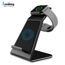 Ascromy Snelle Draadloze Oplader voor iPhone X XS Max XR 8 Plus Samsung S8 S9 Plus Note 9 Pad Horloge 4 3 2 1 Stand qi Telefoon oplader