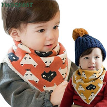Cute Cartoon Baby Bibs Cotton scarf bib Plush Winter Warm Kids Burp Cloths For Child Feeding