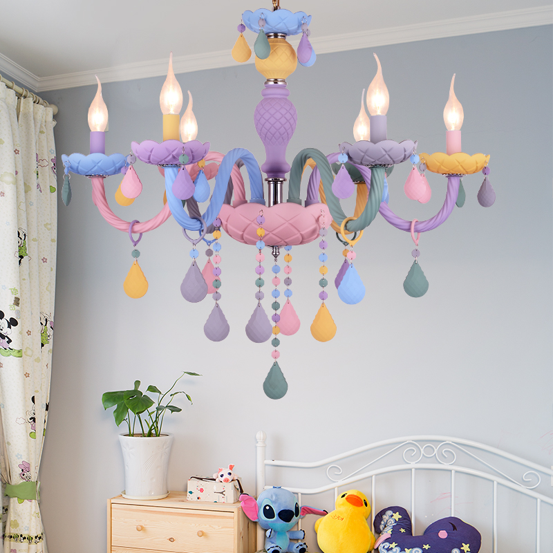 Lustre en Cristal Macaron couleur Droplight enfants chambre lustre Cristal créatif fantaisie fille princesse Luminaire luminaires