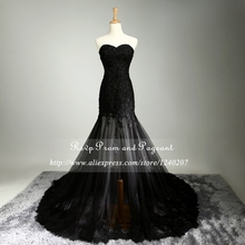 Real Photo 2017 Long Black Prom Dresses Sweetheart Neck Off The Shoulder Beaded Lace Prom Dress
