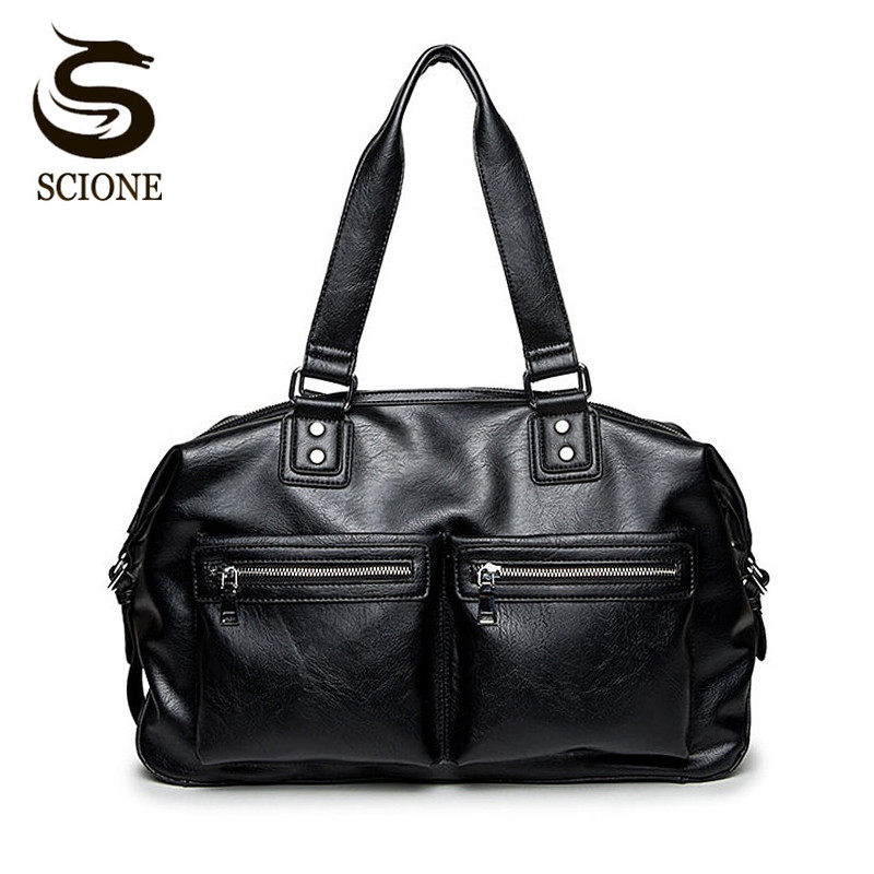 Scione Mens Travel Bag Luxury Fashion PU Leather Shoulder Handbag Waterproof Large Capacity Men Travel Tote Big Computer Bag