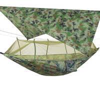 Pop-Up Portable Camping Hammock with Mosquito Net and Sun Shelter,Parachute Swing Hammocks Rain Fly Hammock Canopy Camping Stuff