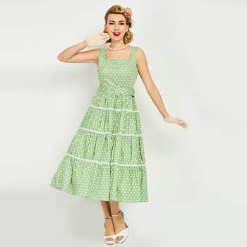 Bohoartist Vintage  woman Dress A-line sleeveless SummerDress green pin up sexy halter party style dress female elegant Dress