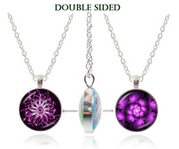 2017 New Design Double Faced Glass Dome Necklace Purple Flower Pendant Necklace Blossom Statement Necklace Handmade