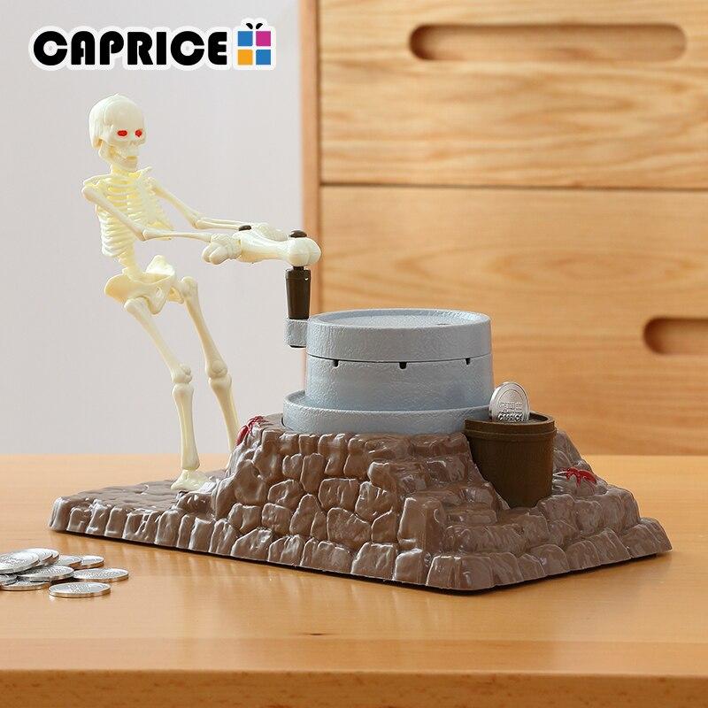 Фантастические Скелет украсть монеты копилку копейки денег Сейф Пластик деньги секрет рабочий стол игрушка украшение дома C0018