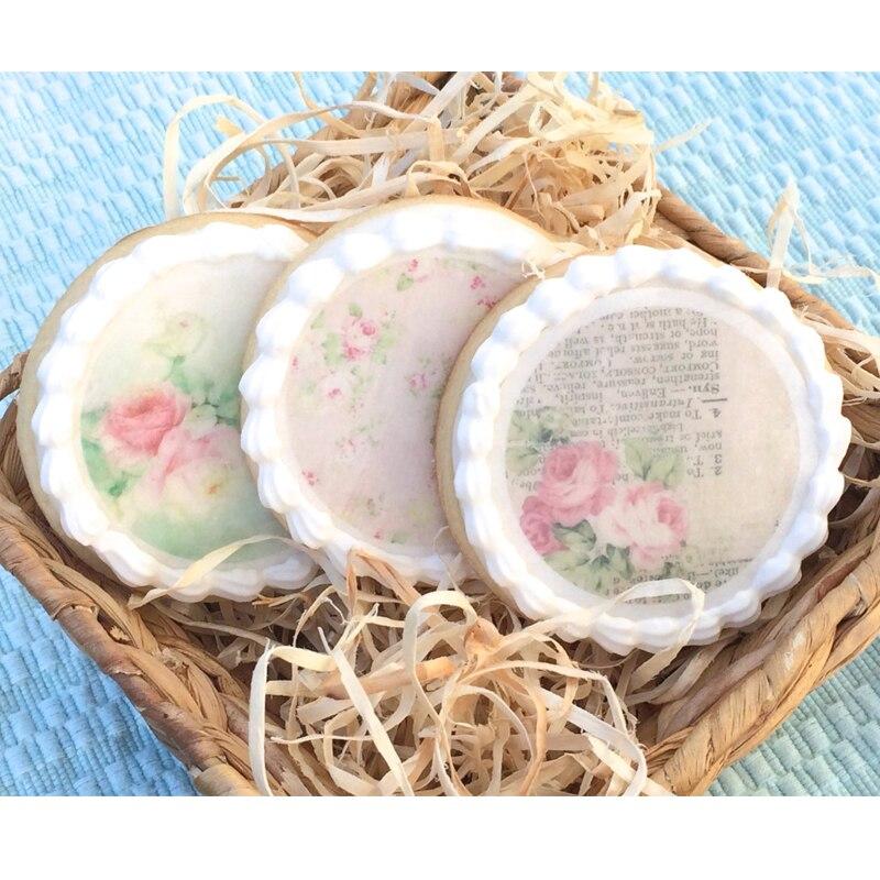 Vintage, w kwiaty jadalny papier waflowy na dekoracja na wierzch tortu, dostawca papieru do dekorowania ciastek z cukrem