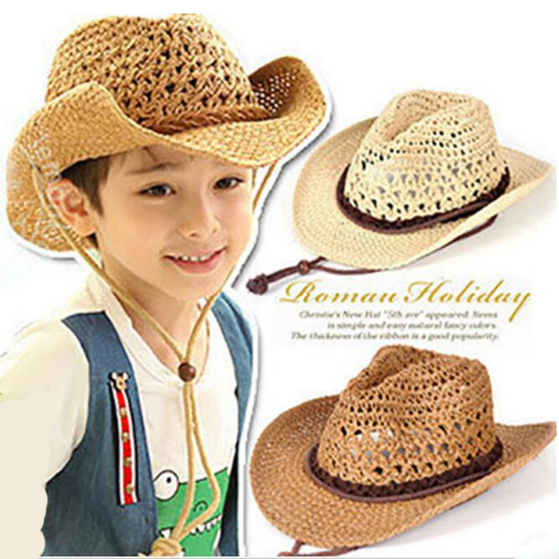 Kids Straw Hat for boys Girls Beads Rope Decorations