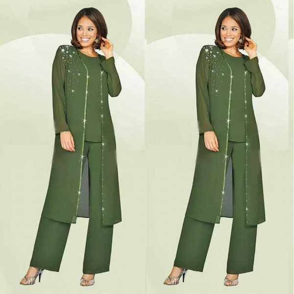 2019 Chiffon Mother Of The Bride Dresses For Wedding Pant Suit Long Jacket 3 Piece Olive Green Farsali Mother Of The Groom Kurti