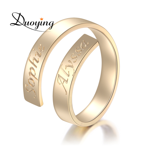DUOYING Custom Name Ring Personalized Letter Ring Gold Dainty Initial Wrap Geper