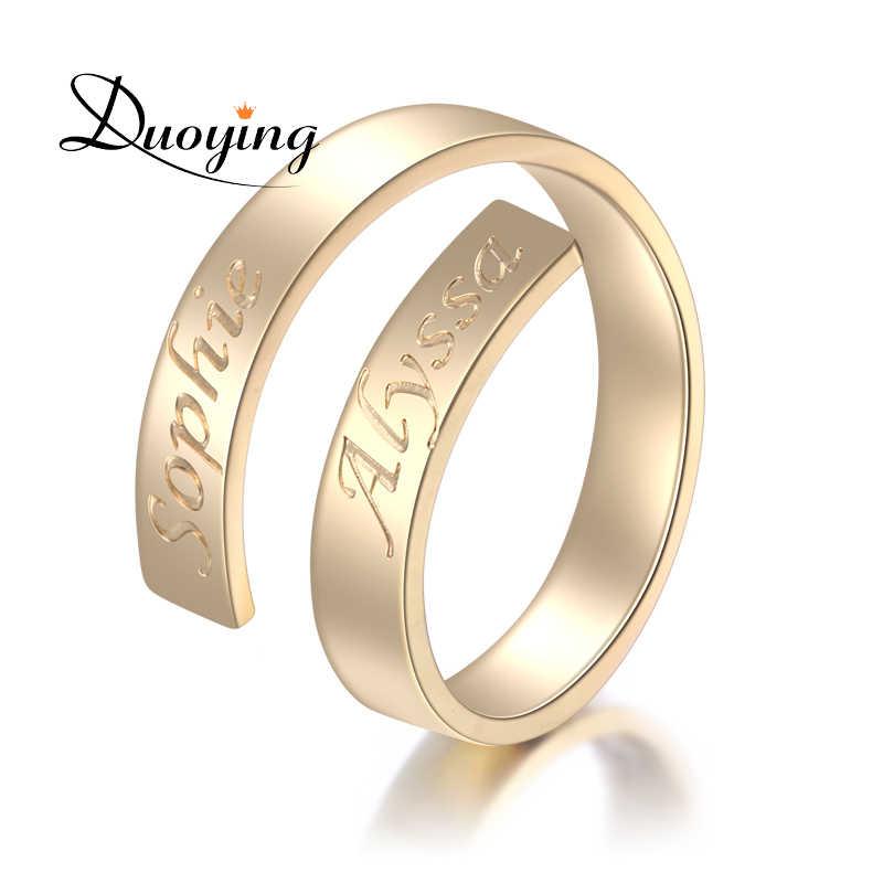 DUOYING пользовательское имя кольцо именной, буква кольцо из белого золота изысканные первоначального Обёрточная бумага персонализированные c логотипом отличный подарок для нее поставщик etsy