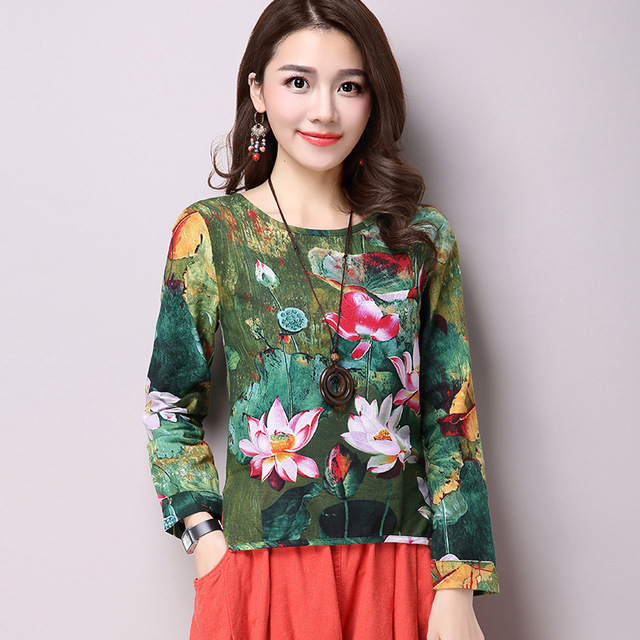 c96845e869f39 Vintage Ethnic Lotus Printing Cotton Linen Shirts Women s Flax Tops Long  Sleeve Flower Floral Blouse Autumn 2018 New Blusas
