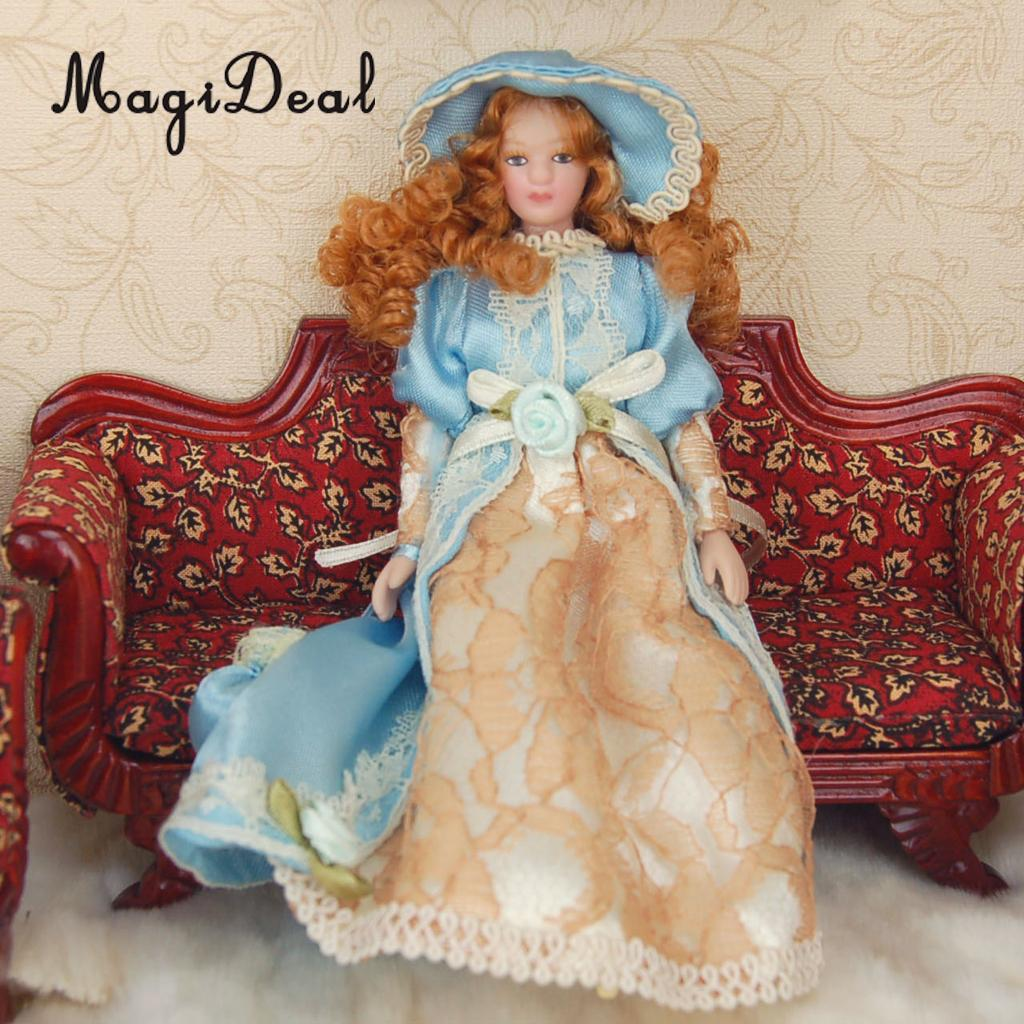 MagiDeal 1Pc Dollhouse Miniature Porcelain Dolls Lady in Dress & Hat w/ Stand for Bedroom Living Room Display Children Toy Gift