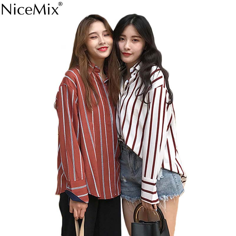 NiceMix Summer Stripe Blouse Womens Tops And Blouses Casual Loose Long Sleeve Korean Chemisier Femme Blusas Mujer 2019