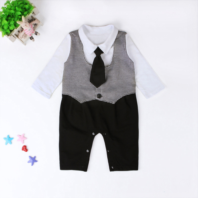 babzapleume 2PCS/3-18M/spring autumn newborn clothing sets 1st birthday gentleman suits jackets+rompers baby boys clothes BC1536