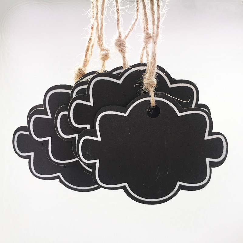 10pcs Mini Wooden Hanging Blackboard With String Cloud Shape Chalkboard Luggage Label Message Board Hang Tags Office Supplies