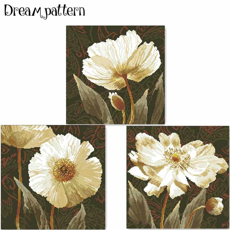 Anemone flower cross stitch package white flowers plant 18ct 14ct 11ct cloth cotton thread embroidery DIY handmade needlework