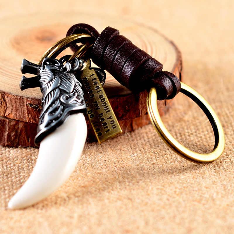 Dropshipping Dentes Lobo Lobo Pingente Chaveiro Chaveiro Encantos Animais Norse Viking Amuleto Chave Anel Chave Da Cadeia de Presente Da Jóia