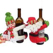 Red Wine Bottle Cover Santa Claus Snowman Christmas Decoration
