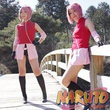 Uyarlanabilir Anime NARUTO Cosplay Adam Kadın Cadılar Bayramı Çünkü Haruno Sakura Cosplay Kostüm üst + etek + pantolon + eldiven