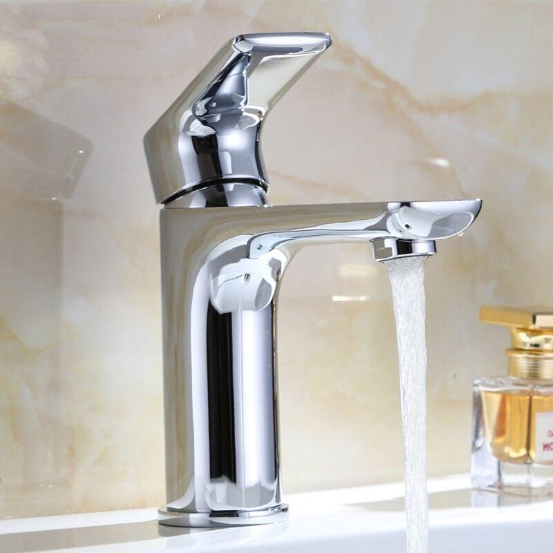 Robinets de bassin robinet de bassin robinet mitigeur finition laiton pilier carré Designer eau Chrome moderne robinets cascade 1110007
