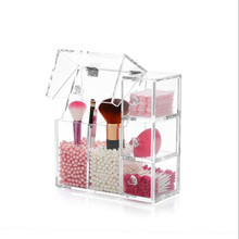 Acrylic Double Makeup Brush Storage Holder with Dustproof Cover with 3-Layer Containers for Cosmetic Cotton Do Not Include Pearl