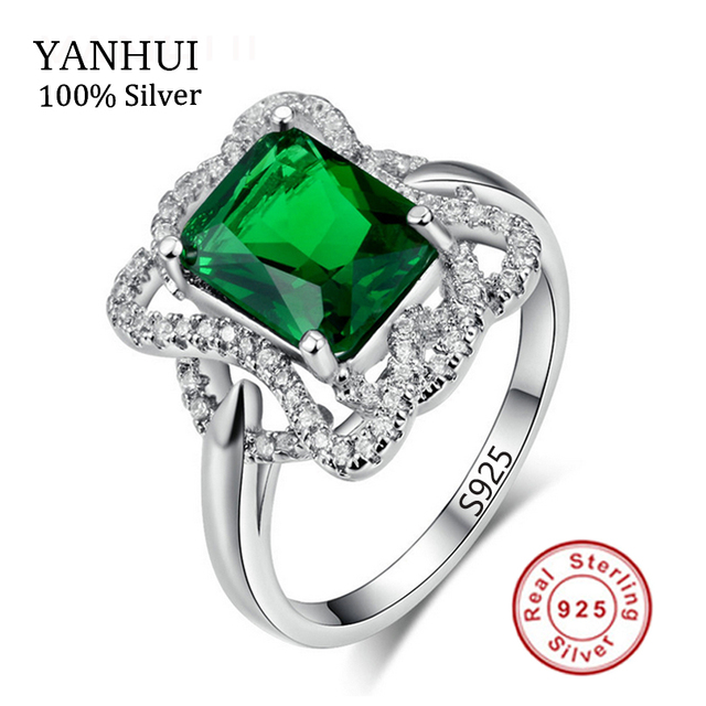 5ct Nano Russian Imitation Emerald Ring Fashion Women Gift 925 Solid Sterling Silver Jewelry Brand New Unique Design 2017 JZR203
