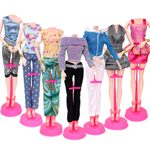 1PCS Cartoon Fashion Handmade Outfit Short Dress Cute Floral T-shirt Leggings Trousers Clothes Or Crystal Shoes For Doll Toys