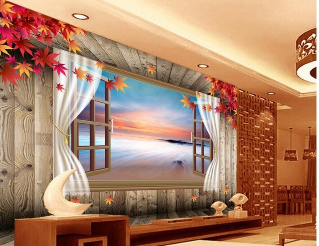 3d Mural Designs Maple Wood Floor Window Curtains Wallpaper Modern For Living Room Murals