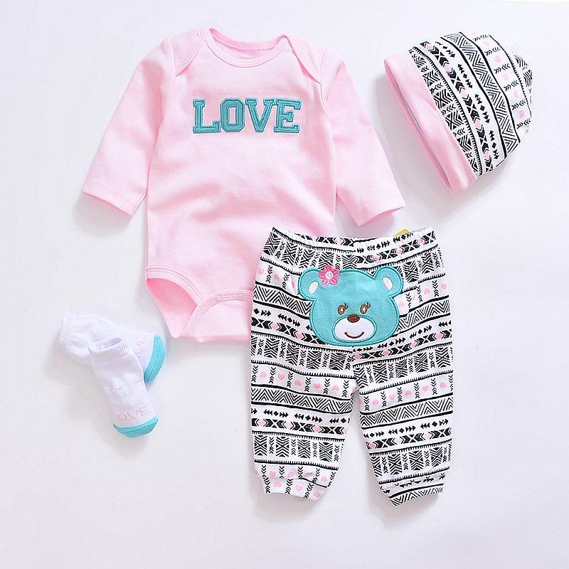 2019 Fashion Baby Clothing Sets Cotton Cute Baby Girl Clothes Newborn Boy Suit 4pcs Long Sleeve Infant Bodysuits+pants+socks+hat