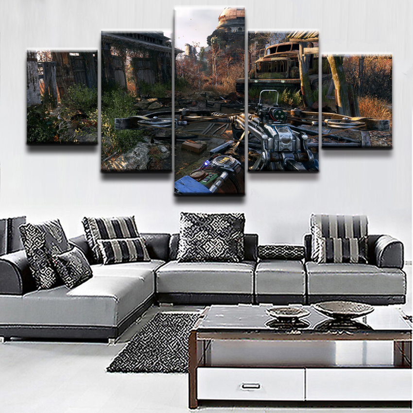 Modern Print Poster Wall Art Picture 5 Piece Crossbow Metro Exodus Post Apocalyptic Game Poster Canvas Home Decor Bedroom image