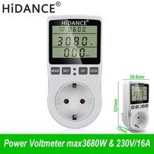 HiDANCE 230 В переменного тока измерители мощности цифровой ваттметр ЕС счетчик энергии ватт монитор стоимость электроэнергии схема измерительная розетка анализатор