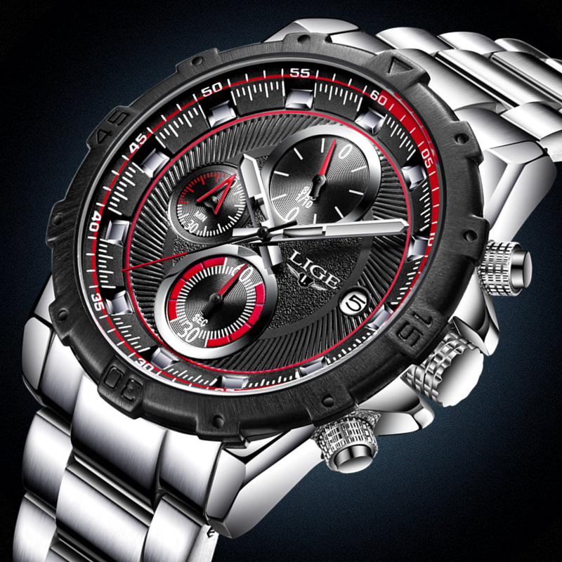 LIGE Top Brand Luxury Mens Watches Business Waterproof Watch Men Casual Sport Full steel Quartz Wristwatch Relogio Masculino lige mens watches top brand luxury man fashion business quartz watch men sport full steel waterproof clock erkek kol saati box
