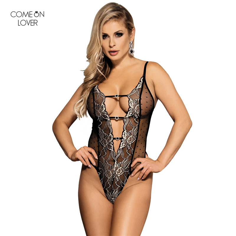 Comeonlover Halter Plus Size Teddy With Lace Embroidery Body Feminino Verao Ladies Jumpsuits RT80320 Sexy Halter Bodies Damas