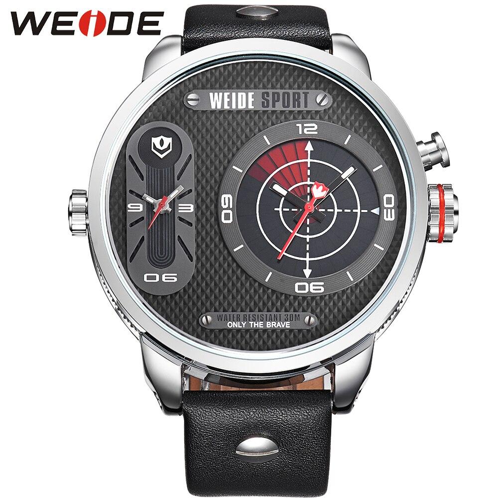 ФОТО WEIDE Classic Analog Watch Men Quartz Movement Multiple Time Zone Display Genuine Leather Strap Original 3ATM Waterproof Watches