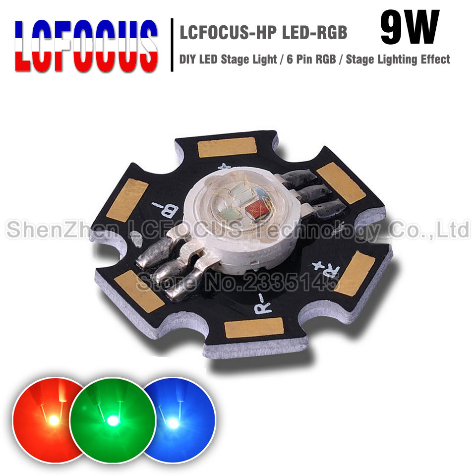 10Pcs/lot High Power 9W LED Chip RGB 3 Watt Red Green Blue 700mA Light Beads For DIY Stage Light With 20MM Star PCB