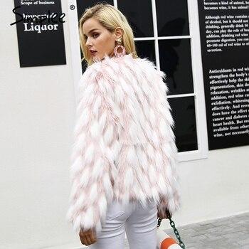 Simplee Fluffy warm faux fur coat women Fake fur short winter coat female