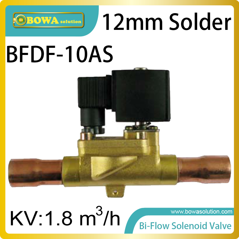 12mm ODF Bi-flow solenoid valves optimize pipeline design of large cooling capacity cooling equipment for cold room for defrost 14tr cooling capacity bi flow expansion valves with odf connection is used for heat pump water heater and air onditioners