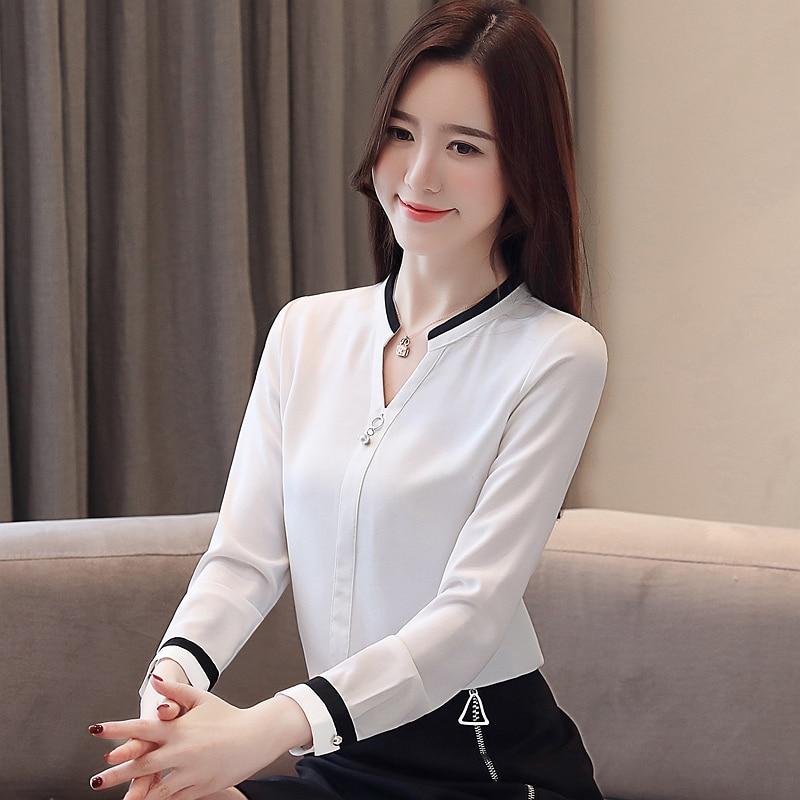 Womens Tops And Blouses Blusas Mujer De Moda 2021 Shirts Beading Chiffon Blouse Solid V-Neck White Shirts 2412 50 5