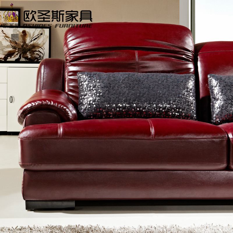 Superbe L Shape Sectional Modern Design Baroque Red Purple Leather Sofa Set,sofa  Set Purple Leather Sofa With Ajustable Headrest,OCS 631 In Living Room Sofas  From ...