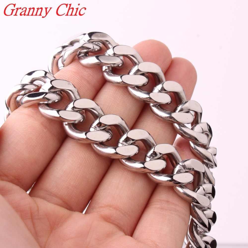 Granny chic new charming 316l stainless steel necklace curb cuba liên kết bạc màu mens chain 7/9/11/13/15/17/19 mét đồ trang sức