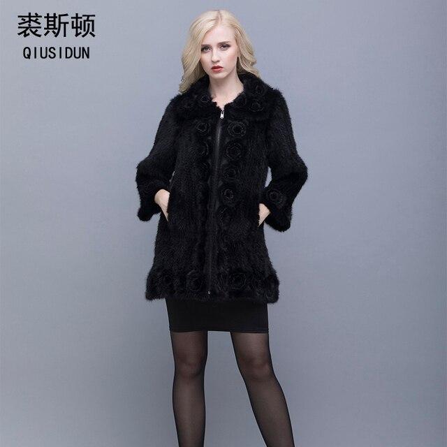 US $180.11 37% OFF QIUSIDUN Real Mink Fur Coat Vrouw Winter Warm Chinese Bontjas Oversized Bontkraag Met Natuurlijke Gebreide Echte Nerts Jas in