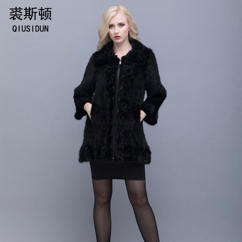 QIUSIDUN Real Mink Fur Coat Woman Winter Warm  Chinese Fur Coat Oversized Fur Collar With Natural Knitted Genuine Mink Jacket