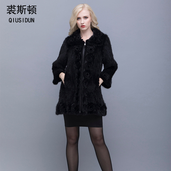 QIUSIDUN Real Mink Fur Coat Woman Winter Warm  Chinese Oversized Collar With Natural Knitted Genuine Jacket