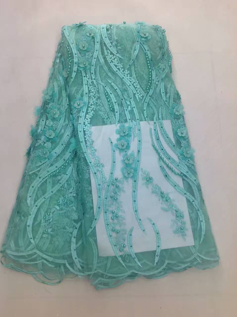 Teal green african lace fabrics high quality for wedding high ...