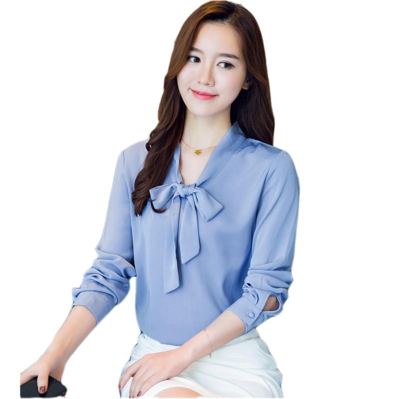 Autumn 2017 Women   Blouse   Slim Bowknot Chiffon   Blouse     Shirt   Long Sleeve Elegant Chiffon   Shirt   For Women Tops OL Woman   Blouses